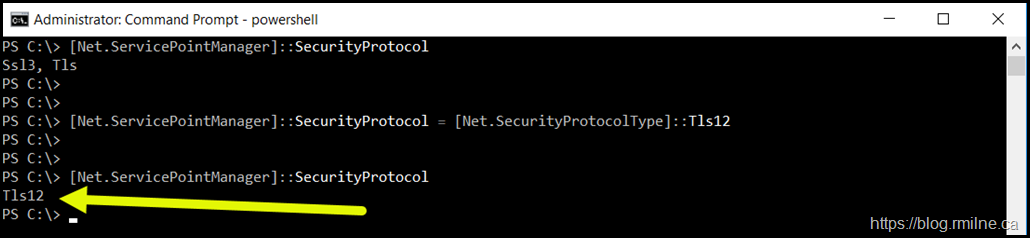 PowerShell TLS 1.2 Support Has Been Enabled