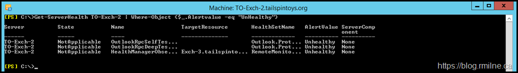 Running Get-ServerHealth Filtering On Unhealthy Values