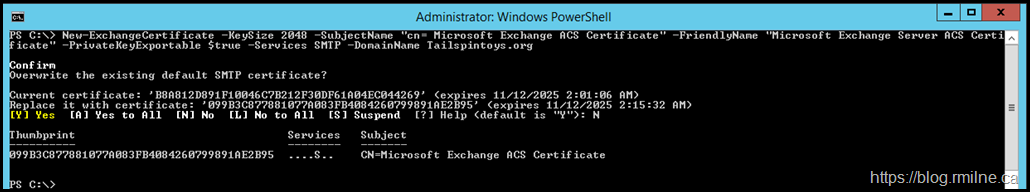 New Auth Certificate Generated