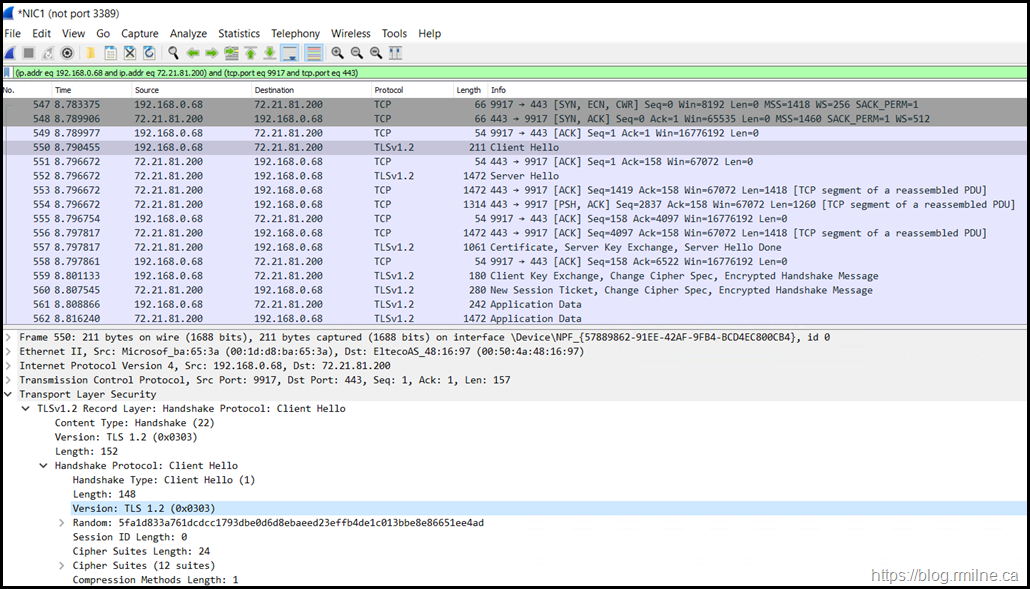 Wireshark Trace Showing TLS 1.2