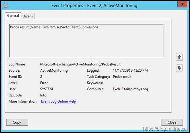 Managed Availability Probe OnPremisesSmtpClientSubmission Failing