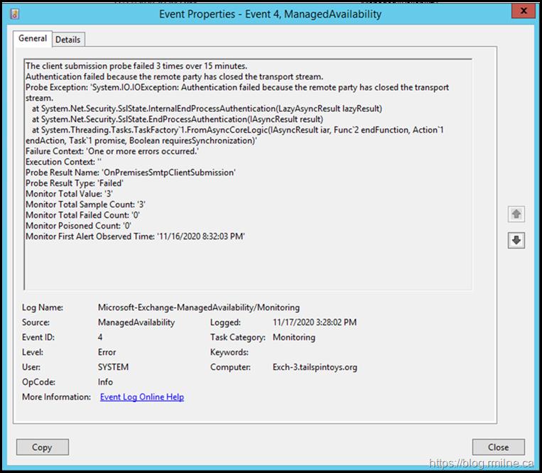 Managed Availability Monitor OnPremisesSmtpClientSubmission Failing