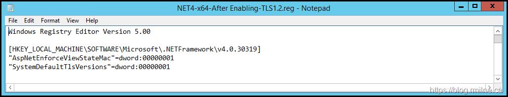 Net Framework TLS x64 Registry Entries