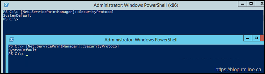 PowerShell Using Expected TLS Configuration