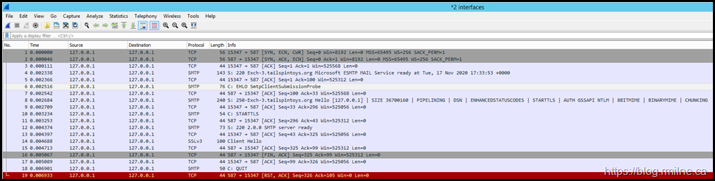 Wireshark Capture - TCP 587 Only