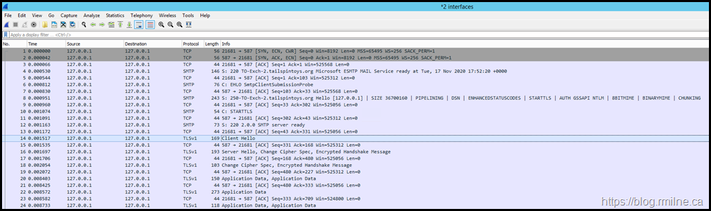 Wireshark Capture - TCP 587 Only On Working Server