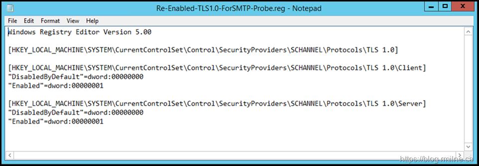 Reverted TLS 1.0 Changes