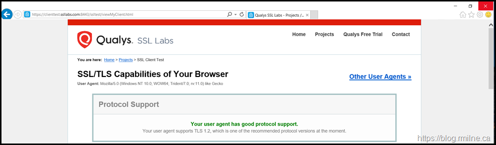 SSLLabs.com Showing Browser Supports TLS 1.2