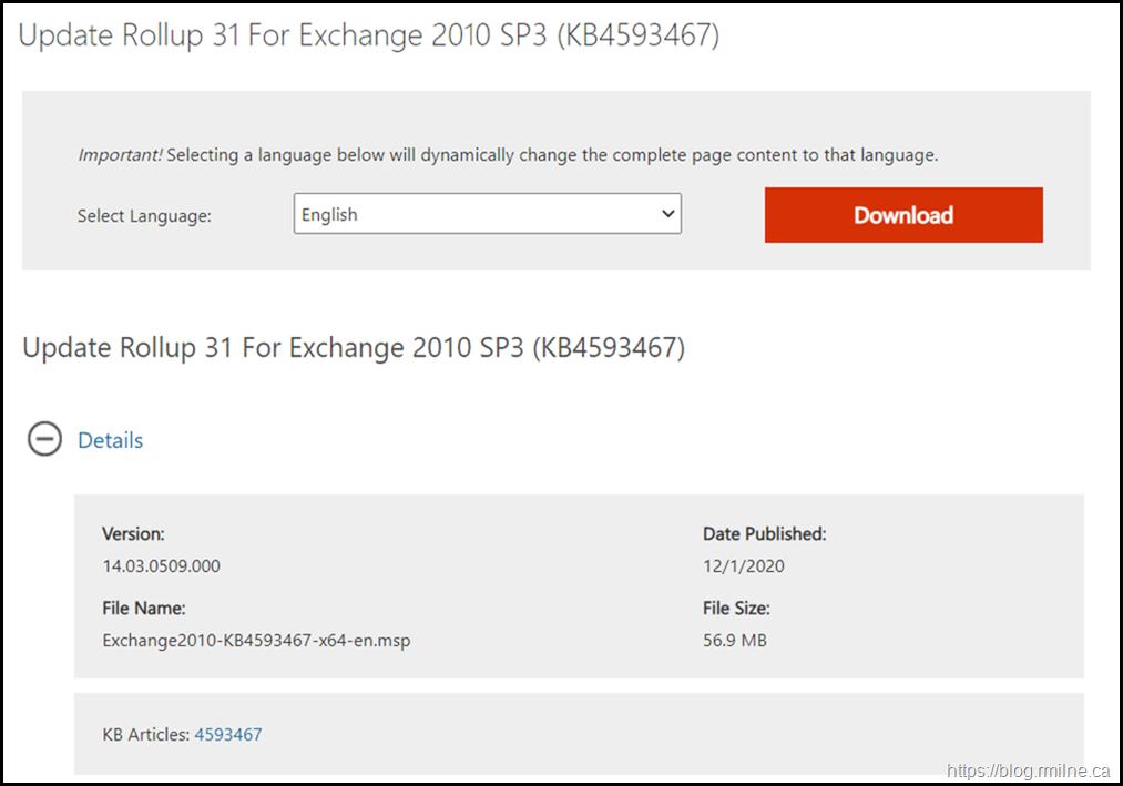 Download Exchange 2010 SP3 RU31