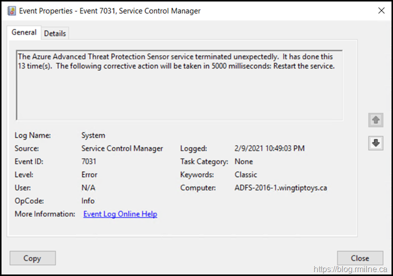 The Azure Advanced Threat Protection Sensor service terminated unexpectedly. It has done this 13 time(s). The following corrective action will be taken in 5000 milliseconds: Restart the service.