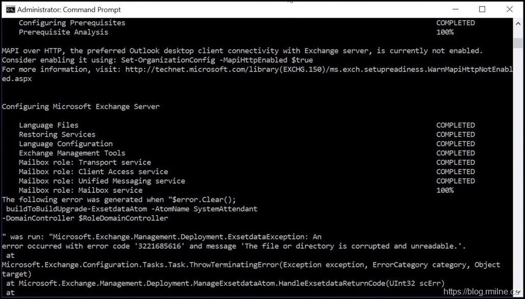 Exchange Setup Fails - Error 3221685616