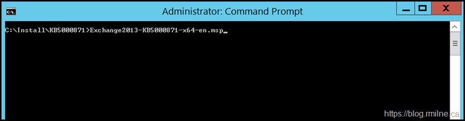 Installing March 2012 Exchange Security Update From An Elevated CMD Prompt