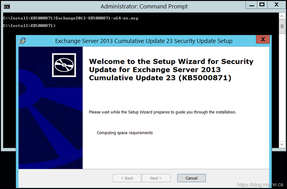 Installing March 2012 Exchange Security Update From An Elevated CMD Prompt - Starting Install Process