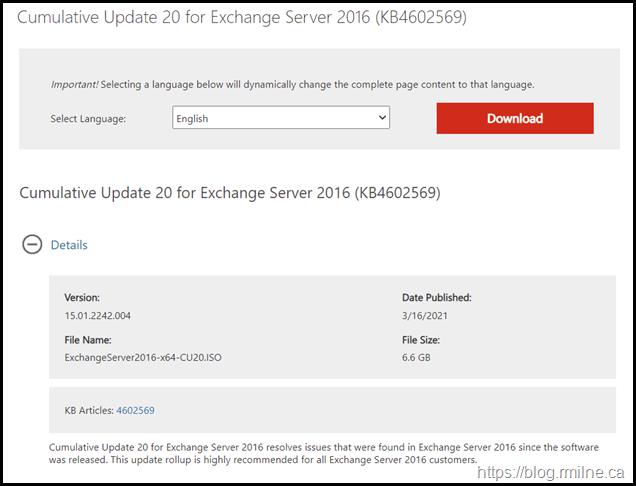 Download Exchange 2016 CU20