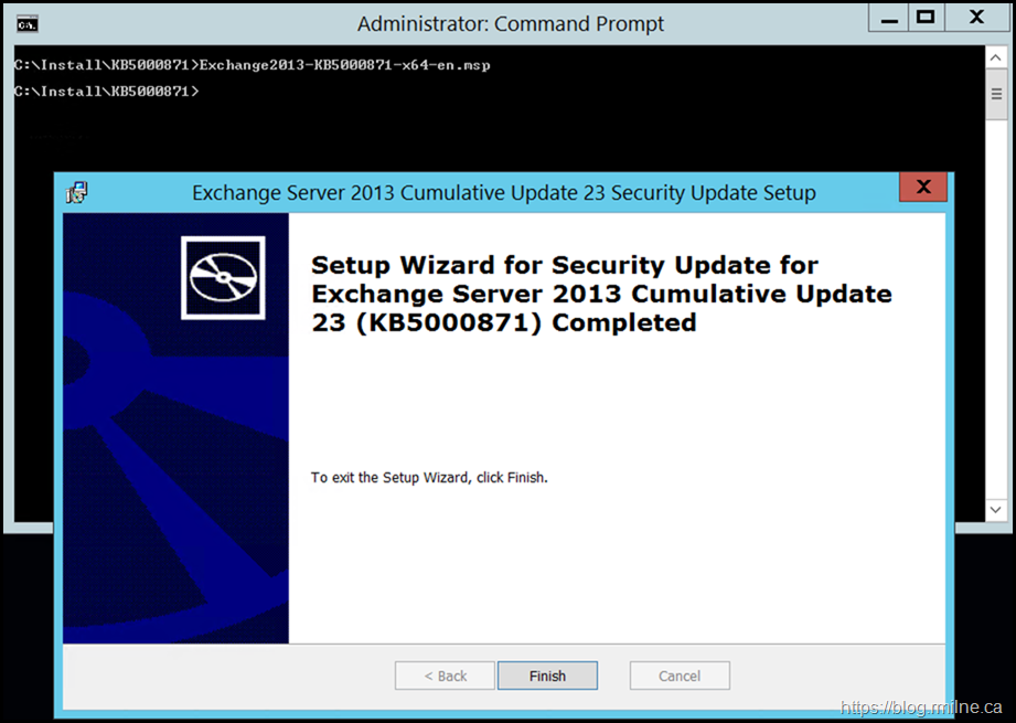 Installing March 2012 Exchange Security Update From An Elevated CMD Prompt - Install Process Completed
