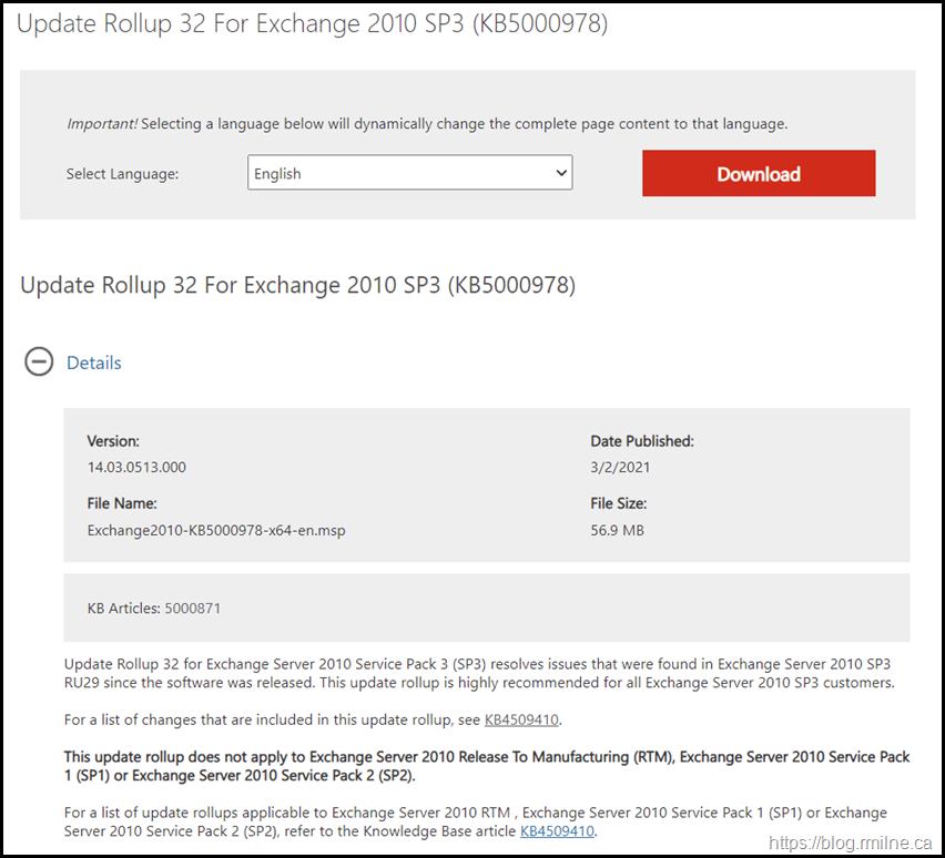 Download Exchange 2010 SP3 RU32