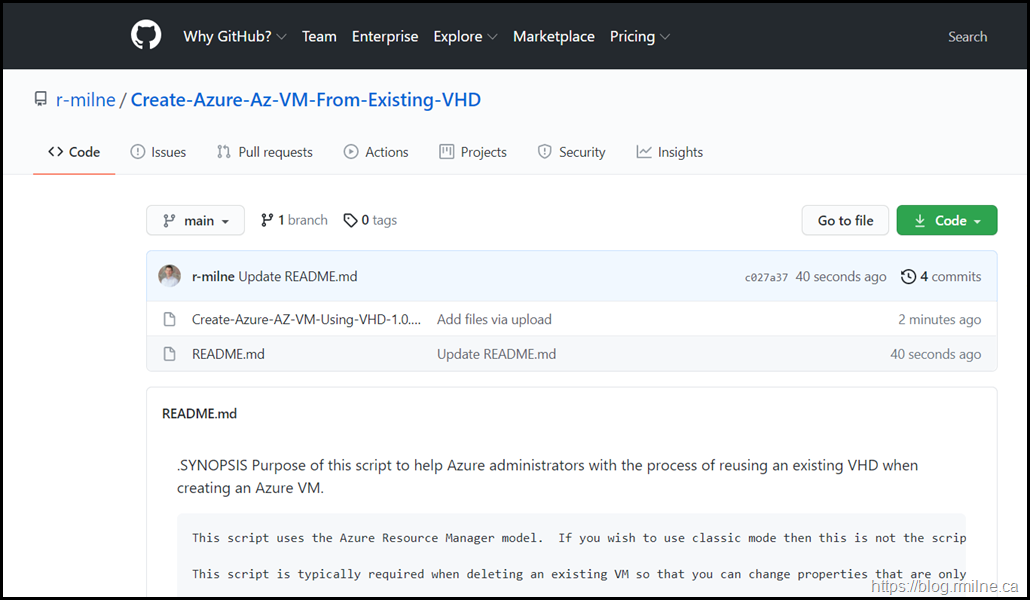 Download Create AZ VM From From UnManaged VHD