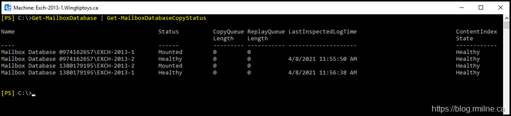 Mailbox Database Copy Layout - Note That Database 0974162657 Is Active On Server Exch-2013-1