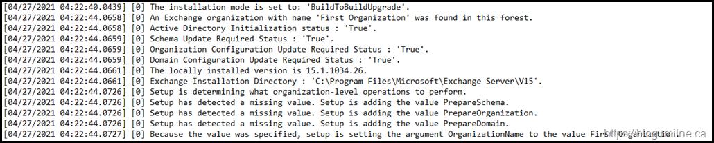 Exchange Setup Log Showing Missing Values - Adding Values