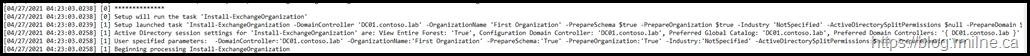 Exchange Setup Log Showing PrepareSchema and PrepareAD Options Automatically Added