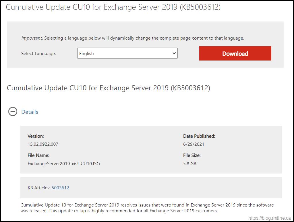 Download Exchange 2019 CU10