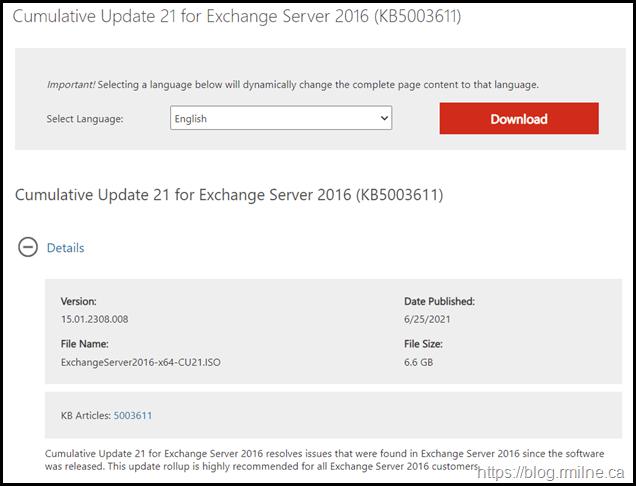 Download Exchange 2016 CU21
